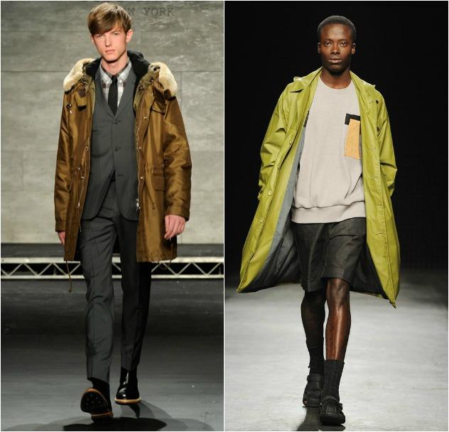 מעיל אחד, הרבה דרכים ללבוש. מימין: christopher raeburn ומשמאל: todd snyder (צילום: גטי אימג'ס)