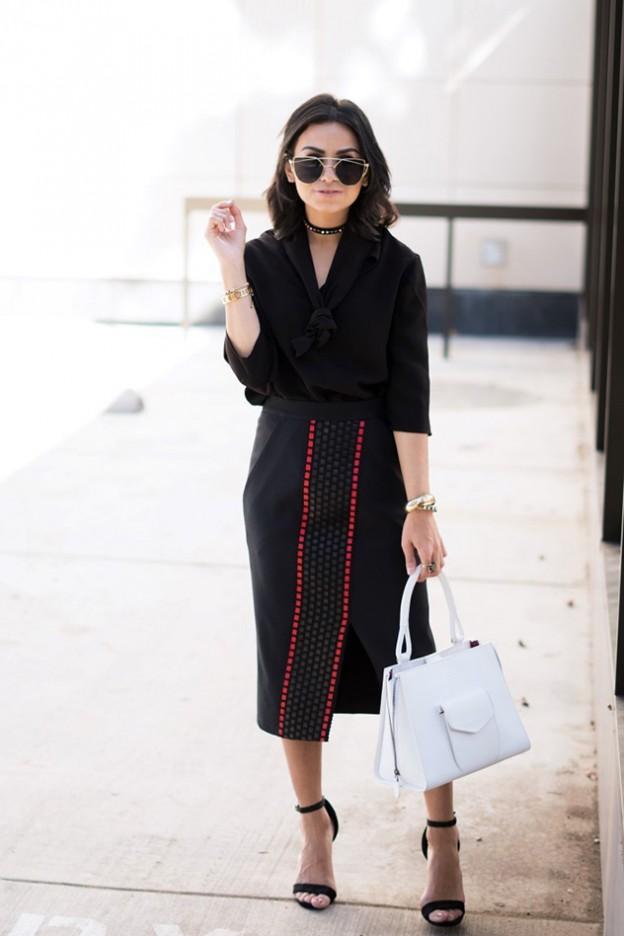 מפרגנת למעצבים ישראלים - חולצה: אלה לוי, חצאית: portay studio, תיק: martella bags מתוך bornndraised@