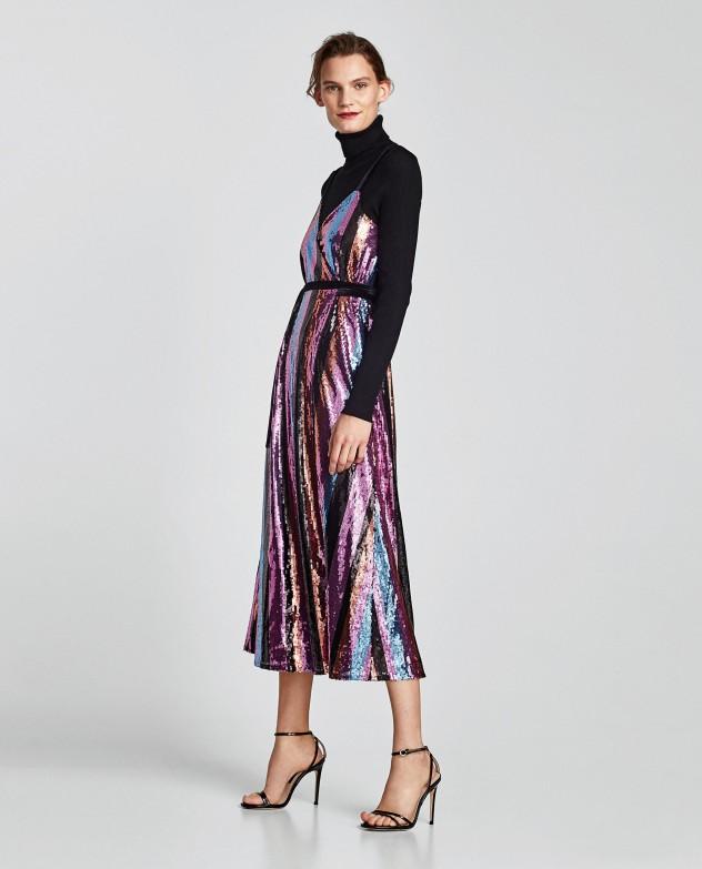 """שמלת סבנטיז בוהקת, 399 שקלים בזארה (צילום: יח""""צ)"""