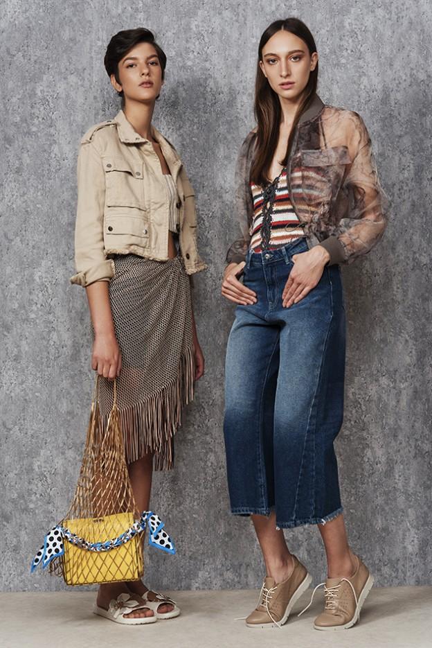 מימין: ז'קט - מנגו, בגד גוף -  Adika, ג'ינס -  קסטרו, נעליים - דארקווד ל- WESHOES. משמאל: חצאית - זארה, חולצה - פול אנד בר, ג'קט - ברשקה, תיק רשת - תמר נתנאלי לשנקר, תיק צהוב - סטרדיווריוס, נעליים - קרוקס ל- WESHOES