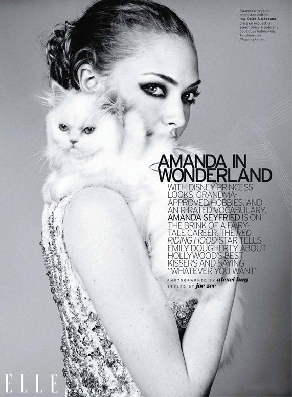 אמנדה סייפריד בהפקה לגליון אפריל 2011 של מגזין Elle | צילום מסך